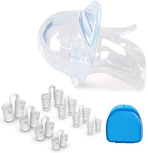 Dispositivos anti ronquidos Retenedor de lengua de silicona y dilatador nasal, dispositivos de ventilación de nariz y tapones para ronquidos