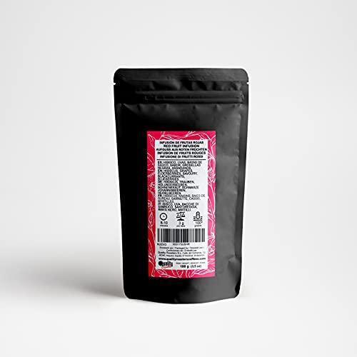 Quality Roasters Coffees Infusión de frutas. Frutas Rojas. Mezcla. Sabor de frambuesas, fresas, cerezas y toque de crema. 100 gramos.