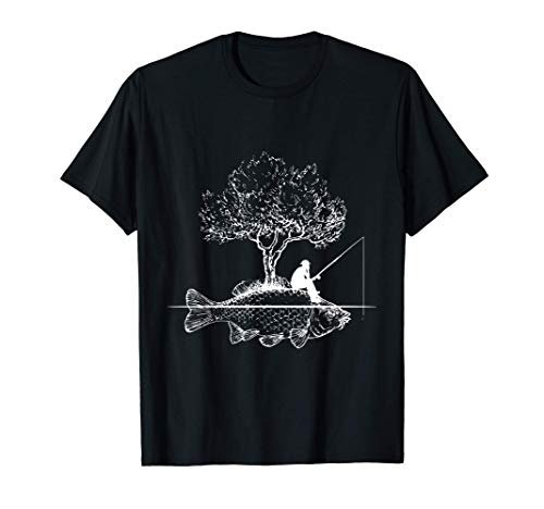 Fishing - Fish Island Art Surreal Funny Carp Fisherman Gift T-Shirt