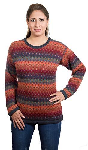 Chompas gebreide trui Mariana | 100% alpaca-wol | trui dames rood oranje groen