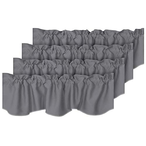 """H.VERSAILTEX 4 Panels Blackout Curtain Valances for Kitchen Windows/Living Room/Bathroom Privacy Protection Rod Pocket Decoration Scalloped Winow Valance Curtains, 52"""" W x 18"""" L, Grey"""