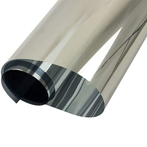 GEBIN Vinilo Ventana Cristal Protector Solar Lámina, Privacidad De Una Manera Espejo Película, Adhesiva De Gran Reflexión, Anti 99% UV Mejor Control De Calor Fácil. (Plata,90cm*10m)