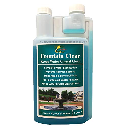 Photo of HYDRA Fountain Clear Water Feature Cleaning Fountain Cleaner Treatment Keeps Water Crystal Clear from Algae, Green Water, Biofilm Build-up 1L Treats 30,000L Highest Dilution Rates