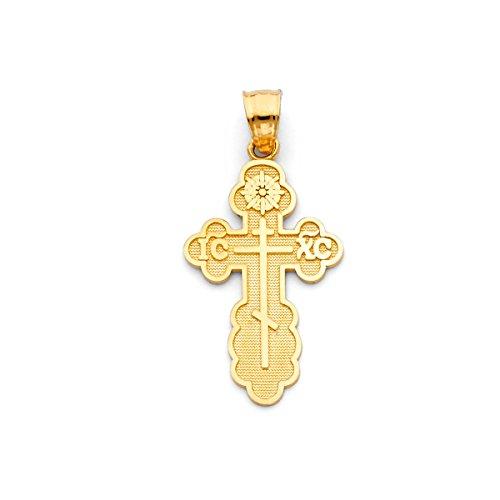 tgdj 14K Gelb Gold St. Olga Griechisch-orthodoxe baptismal Kreuz Religiöse Anhänger