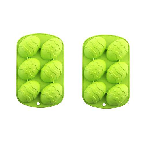 2pcs Huevos de Pascua Forma Molde de silicona Pasteles de Chocolate Masa para hornear Bandeja de cubitos de Hielo (Green)