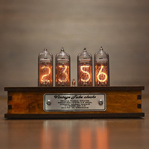 Nixie Tube Clock with New and Easy Replaceable IN-14 Nixie Tubes - Motion Sensor - Visual Effects - Perfect Gift Idea