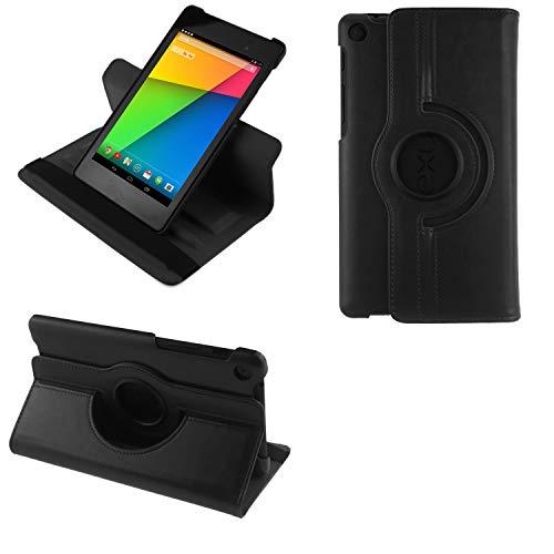 COOVY Funda para Google ASUS Google Nexus 7 (2. Generation Model 2013) Smart 360º Grados ROTACIÓN Cover Case Protectora Soporte Auto Sueño/Estela | Color Negro