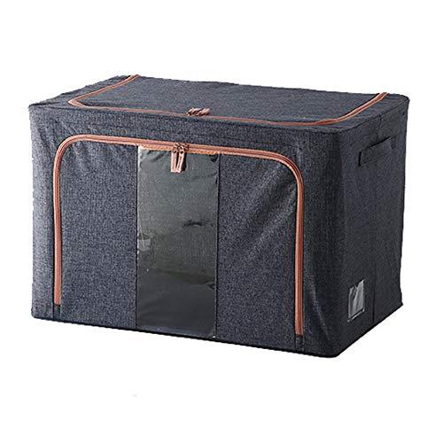 Baumwolle Und Leinen Kleidung Aufbewahrungsbox Stoff Kunst Kleidung Quilt Sortierbox Box Tasche Garderobe Aufbewahrungskorb Tasche Haushalt Artefakt,100L(Navy Blue)