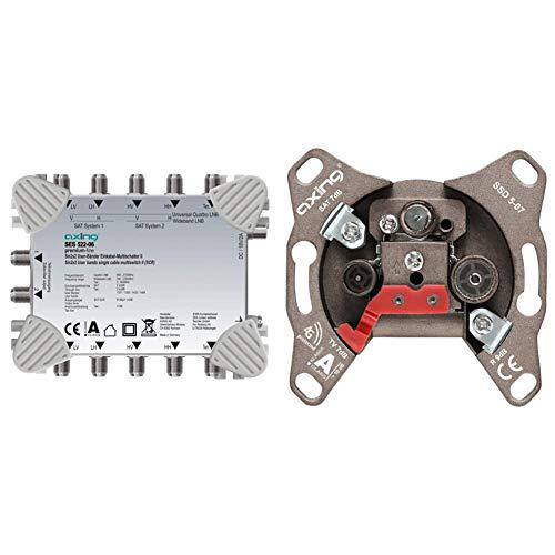 Axing SES 522-06 SAT Einkabel-Lösung Multischalter Unicable-Erweiterung, 4 Teilnehmer & SSD 5-07 Universal Sat Enddose mit 7 dB Anschlussdämpfung (SAT/TV/R)
