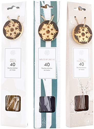 COM-FOUR® 120x wierookstokjes in verschillende geuren - wierookstokjes met kerststokhouder (120 stuks - wierookstokjes winter)