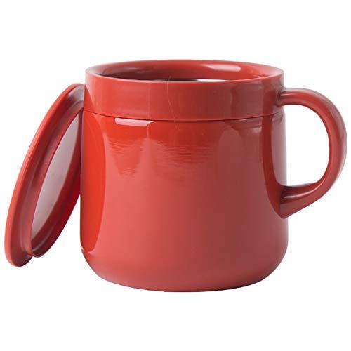 Taza Termo Roja Taza De Viaje De Acero Inoxidable con Tapa Taza De Café con Agarre para Bebidas Frías Y Calientes 280ml (Color : Red, Size : 8.6 * 8.6cm)