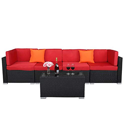YUYAO Family Living Room Sofà modulare, Telaio in Ferro con tavolino Extra Largo 2pcs Divano ad Angolo + 2pcs Divano Senza armless Divano modulare