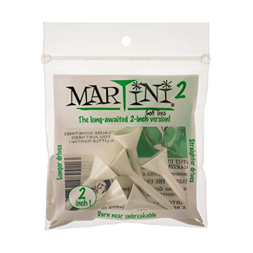 Martini Tees Martini 2 Inch Golf Tees - White (6 Tees) by