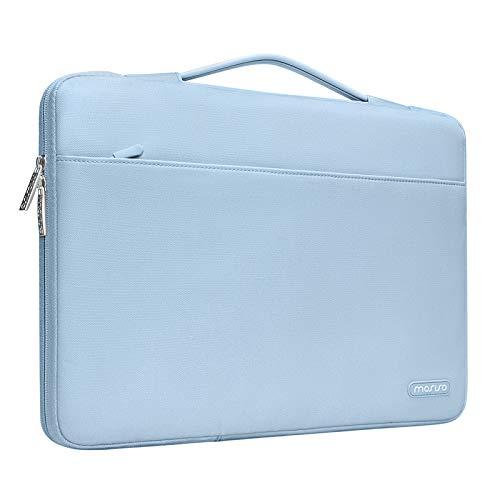 MOSISO Maletín Compatible con 13-13,3 Pulgadas MacBook Air/MacBook Pro/Ordenador portatil, Funda Blanda Protectora 360 Multifuncional Bolso con Correa de Carro, Aireado Azul