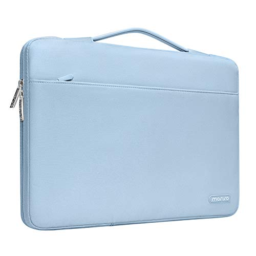 MOSISO Laptop Sleeve 360 Protective Case Bag Compatible with 13-13.3 inch MacBook Pro, MacBook Air, Notebook with Trolley Belt, Polyester Briefcase with Trolley Belt, Airy Blue
