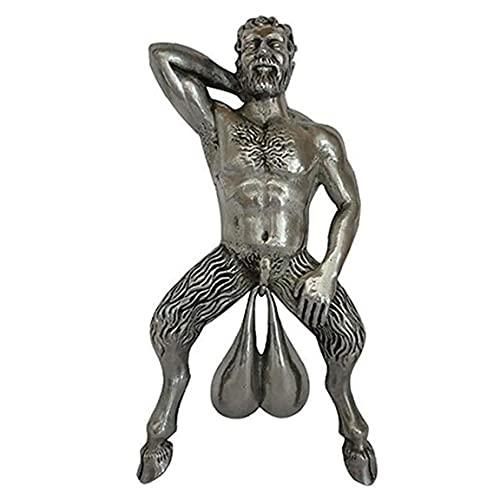 DierCosy Tools Aldaba Sátiro Bolas Viejo Figura esculturas, Grande colgado Desnudo Decoración, Estilo Romano Cosecha Colgando Colgante Timbre de la Puerta de la decoración, símbolo de la fertilidad,
