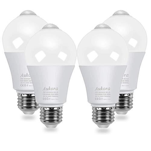 Aukora Motion Sensor Light Bulbs 4-Pack, 12W (100-Watt Equivalent) E26 Motion Activated Dusk to Dawn Security Light Bulb Outdoor/Indoor for Front Door Porch Garage Basement Hallway Closet(Cold White)
