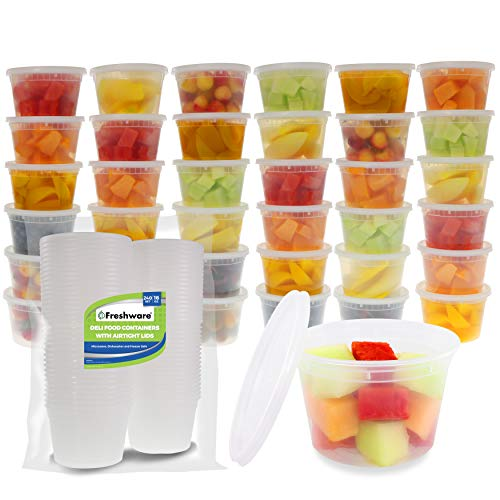 Freshware Food Storage Containers [240 Set] 16 oz Plastic Deli Containers with Lids, Slime, Soup, Meal Prep Containers | BPA Free | Stackable | Leakproof | Microwave/Dishwasher/Freezer Safe
