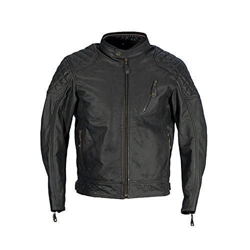 Richa Donington für Herren Klassische Leder Retro Motorrad Jacke - schwarz - Schwarz, UK 52