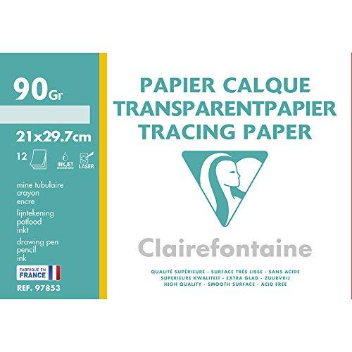 Clairefontaine Papel de calco, 90/95 g, A4, 12 hojas