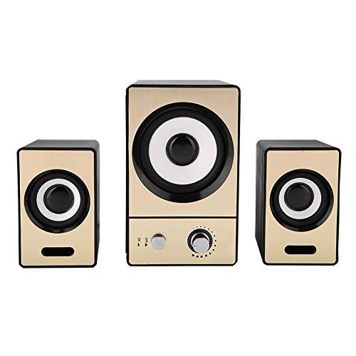 Luidspreker, computer laptop luidsprekers, stereo omringende computer laptop luidsprekers, duidelijke pc luidsprekers met subwoofers(Goud)