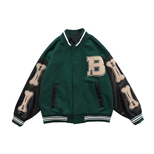 Onsoyours Herren Baseballjacke Unisex Collegejacke Oldschool Varsity Jacket Sweatjacke Vintage Streetwear Oversized Patchwork Sportjacke Grün S