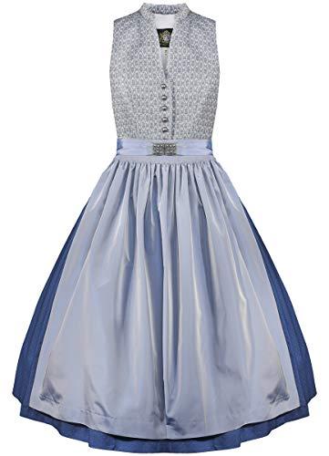 Hammerschmid Damen Trachten-Mode Midi Dirndl Tegernsee in Blau traditionell, Größe:40, Farbe:Blau