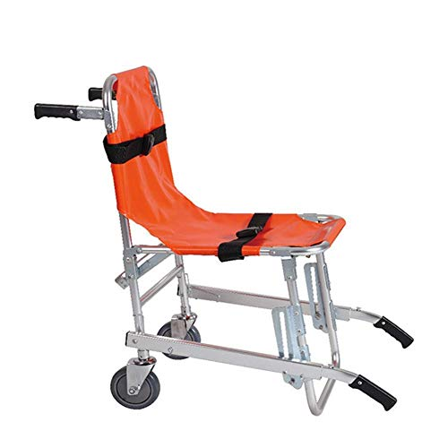 NZBⓇ Stair Chair LRSD-St008 Emergency Car with 4 Wheels for Paramedic Evacuation Medical Transport Chair with Patient Safety Straps 350 Lbs Capacity Orange
