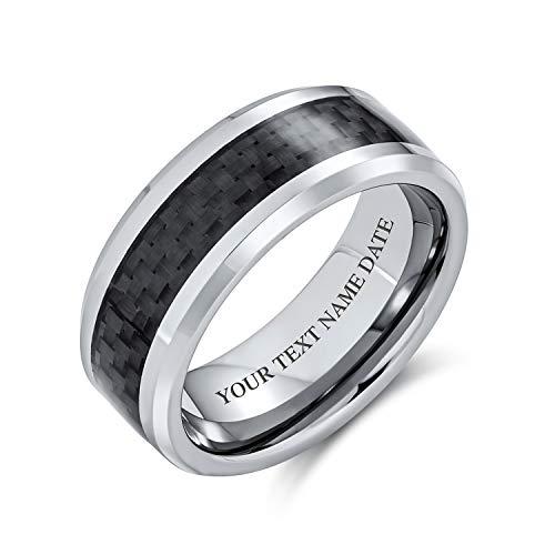 Bling Jewelry Motivo Geometrico Personalizzato Grigio Nero Fibra di Carbonio Intarsio Coppie Fede Nuziale in Titanio 8MM Personalizzato Inciso