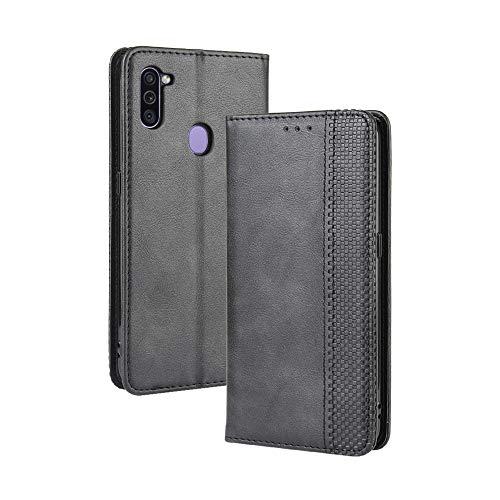LAGUI Kompatible für Samsung Galaxy M11 Hülle, Leder Flip Hülle Schutzhülle für Handy mit Kartenfach Stand & Magnet Funktion als Brieftasche, schwarz