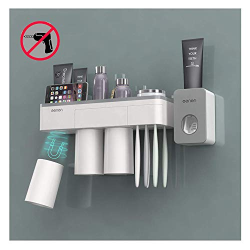 IKEAR Holder Magnetic Holder & Automatic Toothpaste Dispenser Squeezer, Wall Mounted Space Saving...