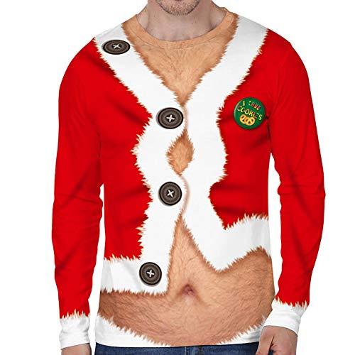 Loalirando Vêtement Noël Homme T-Shirt Drôle à Manches Longues Pull Moche de Noël Motifs 3D Imprimé, Rouge 3, XL