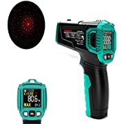 KAIWEETS Infrared Thermometer, Handheld Infrared Thermometer Gun Non-Contact Color Display -58℉~1022℉ (-50℃ ~ 550℃) with Adjustable Emissivity and Temp Alarm Setting for Cooking HT650B