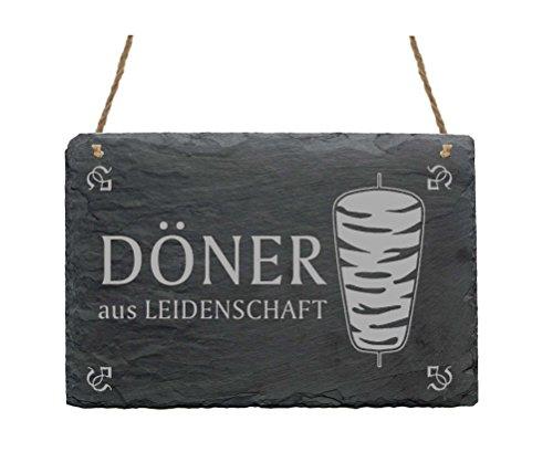 Schiefertafel « DÖNER AUS LEIDENSCHAFT » Schild mit Motiv Dönerspieß - Türschild Dekoschild - Kebab Imbiss Bistro Grill Kiosk