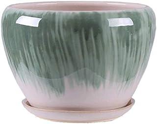 Kotee Färgblomkruka med fack grön pepparrot växt Stand Keramik krukor för Outdoor Indoor (Färg : C, Size : S)