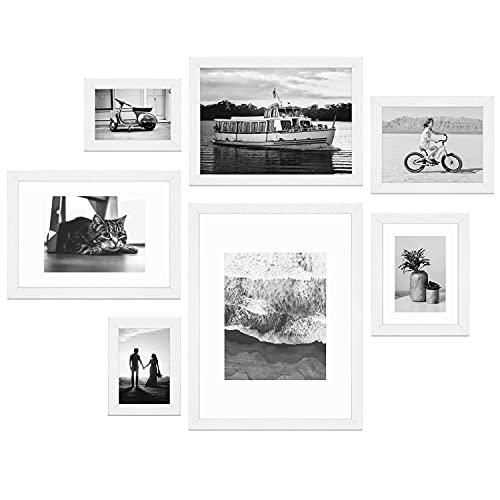 Lobome 7er Bilderrahmen Collage Set, Modern Weiß | 7 Fotorahmen aus MDF-Holz 10x15 cm bis 30x40 cm | Mit Plexiglas, Metall-Aufhängung, Aufsteller & Passepartout