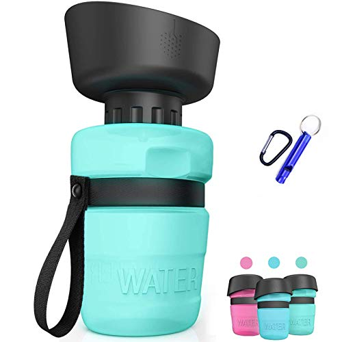 ZONSUSE Tragbare Haustier Wasserflasche, 520ml Hunde Wasserflasche, Hundetrinkflasche für unterwegs, BPA Frei, für Camping, Spaziergang, Wandern(Hellblau)
