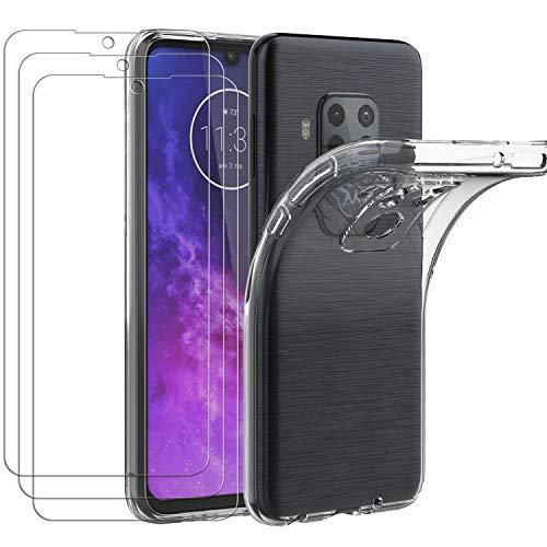 ivoler Hülle für Motorola Moto One Zoom, mit 3 Stück Panzerglas Schutzfolie, Dünne Weiche TPU Silikon Transparent Stoßfest Schutzhülle Durchsichtige Handyhülle Kratzfest Hülle
