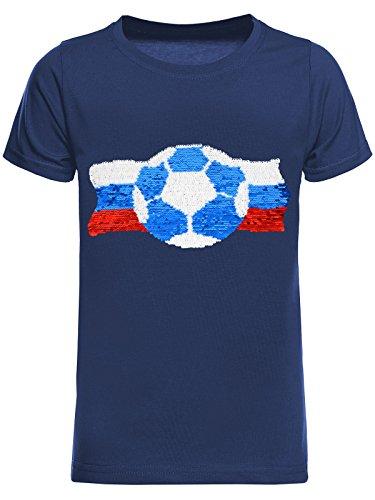 BEZLIT Jungen WM Russia 2018 Fußball Fan T-Shirt Wende-Pailletten Russland Shirt 22736 Blau Größe 164