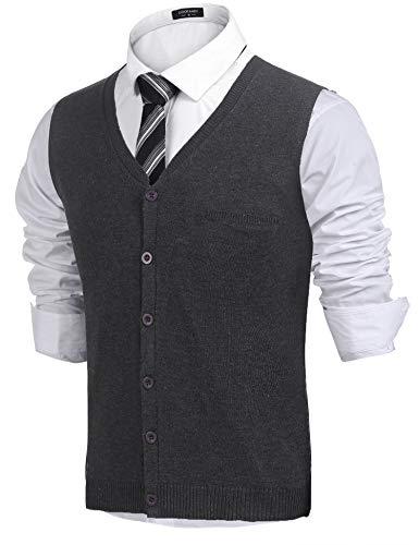 COOFANDY Herren West Strickweste Pullunder Regular fit V-Ausschnitt Knopfleiste Einfarbig Wollweste für Männer