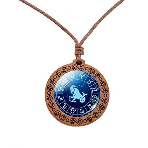 12 Signos del zodiaco cuerda del collar de la cadena de Libra Escorpio Sagitario Capricornio Acuario Piscis Collar del símbolo del infinito colgante de madera Joyería ( Metal Color : Capricorn )