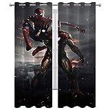 Cortinas térmicas con ojales Peter Parker y Tony Stark Spider Man Iron Man Set de 2 paneles de 63 x 72 pulgadas