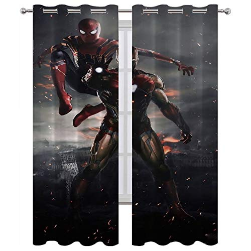 Cortinas térmicas con ojales Peter Parker y Tony Stark Spider Man Iron Man, juego de 2 paneles (160 x 183 cm)