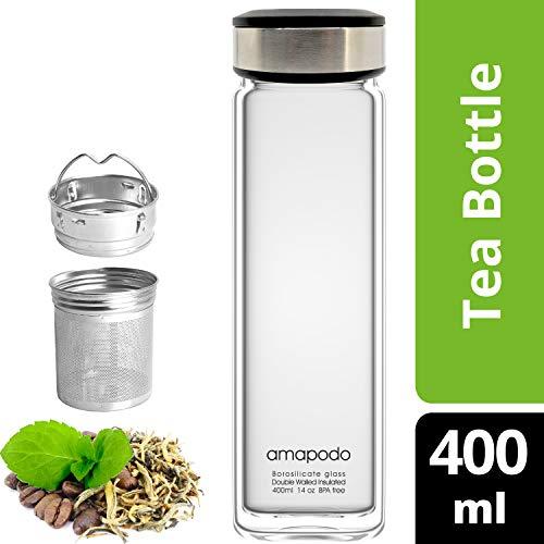 amapodo Teeflasche mit Sieb - Tee Flasche Glas to go - Tea Bottle 400ml (Anthrazit)