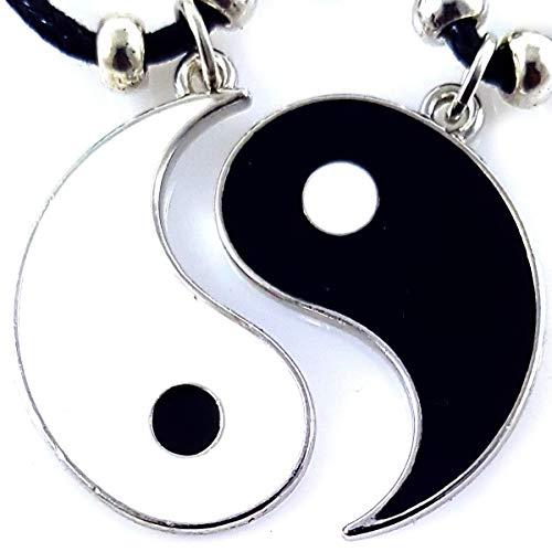 AKIEE Collar Yin Yang para Hombre Mujer Niños Niñas Ajustable Colgante Taichi Collar Pareja Mejores Amigos best friends (Black/white 3 CM)