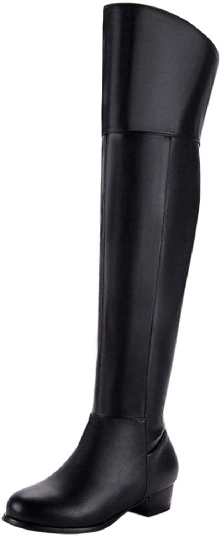 TAOFFEN Women Comfort Low Heel Knight Boots