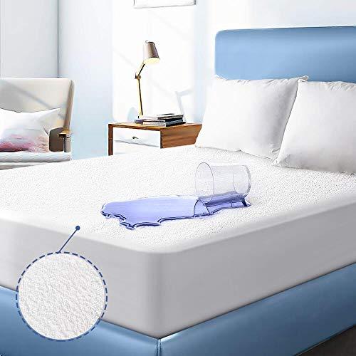 Protector de colchón Impermeable y Transpirable Puro Algodón Toalla de Felpa Funda de colchón,Lavable,Silencioso & Anti-ácaros,Cubre Colchón (80 x 200 cm)