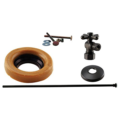 Westbrass 1/2' Nominal Compression Cross Handle Angle Stop Toilet Installation Kit with Annealed Brass Supply Line, Oil Rubbed Bronze, D1614TBX-12