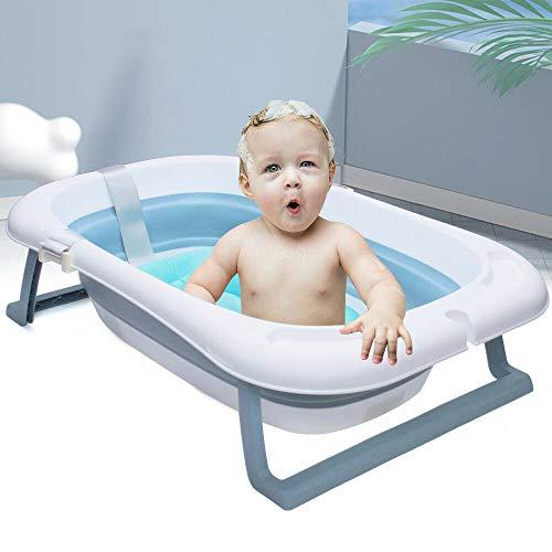 Soporte plegable para bañera de bebé recién nacido con termómetro antideslizante, 83 x 53 x 21 cm, color blanco
