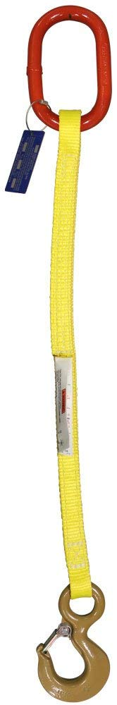 3,000 Lb Hook with Safety Latch EE1-802 HSI One Ply 2 x 28 Single-Leg Oblong-to-Hook Nylon Sling Vertical Capacity 1//2 Master Link